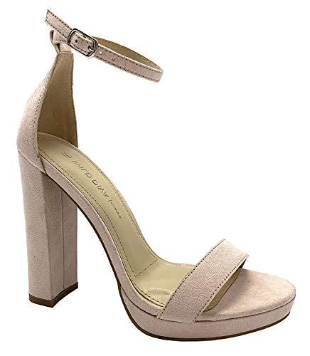 Wild Diva Women's High Chunky Block Heel Pump Dress Heeled Sandals