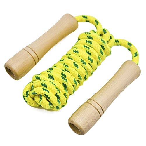 Office or Garden Wooden Handle and Cotton Skipping Rope Adjustable Skipping Rope for Fitness Exercise Workout at Home Gym Fghuim 2 Pcs Jump Rope for Kids and Adults