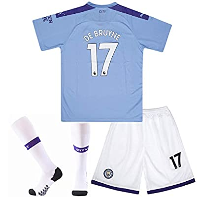 #17 De Bruyne Soccer Jersey Manchester City Home with Socks and Shorts 2019-2020 Season Kids/Youth Blue