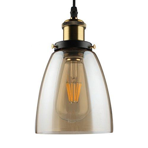 B2ocled Amber Glass Pendant Light Retro Industrial Edison Lamp, 1-Light Pendant Hanging Lamp Fixture with Glass Shade