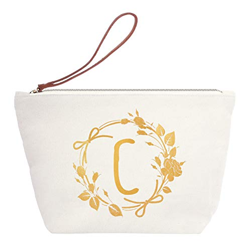 ElegantPark C Initial Monogram Personalized Travel Makeup Cosmetic Bag Wristlet Pouch Gifts with Zipper Canvas by ElegantPark
