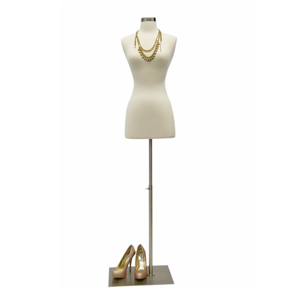 (JF-FWPW-4+BS-05) Size 2-4 Premium White Female Fully Pinnable Mannequin Dress Form With Rectangle Brushed Metal Base with Neck Top Roxy Display Inc.