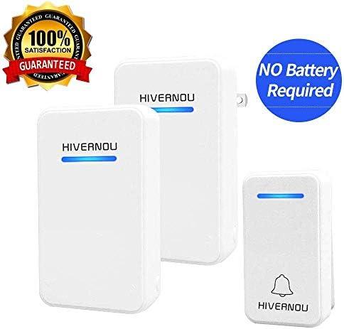 [해외]Hivernou Wireless Doorbell1 Push Button and 2 Plug-In Receivers Operating at over 600 feet Range48 Chimes and 6 Volume Levels & LED FlashNo Batteries Required / Hivernou Wireless Doorbell1 Push Button and 2 Plug-In Receivers Operat...