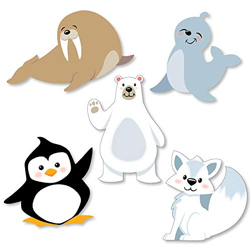 Big Dot of Happiness Arctic Polar Animals - DIY Shaped Winter Baby Shower or Birthday Party Cut-Outs - 24 Count
