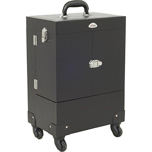 Sunrise Avogaria Rolling Makeup Case Professional Nail Travel Wheel Organizer, Black Leatherette, 16 Pound by SunRise