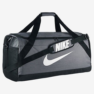 NIKE Brasilia Training Duffel Bag, Flint Grey/Black/White, Large