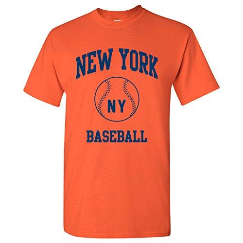 New York Classic Baseball Arch Basic Cotton T-Shirt - 2X-Large - Orange (York New Baseball T-shirt)