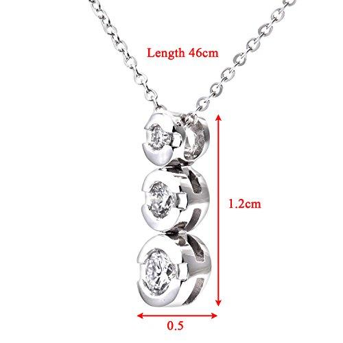 Revoni Bague en or blanc 9carats-Diamant 0,15ct trilogie Pendentif et chaîne de 46cm