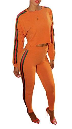 Womens 2 Piece Set (Holify Women's Casual Plain Stripe Crop Top Shorts Pants Long Sleeve Jumpsuit 2 Piece Set Outfits)