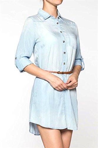 Tencel Shirt Dress (Clothing BFF Womens Spring Summer Tencel Shirt Dress Top (Small, Light)