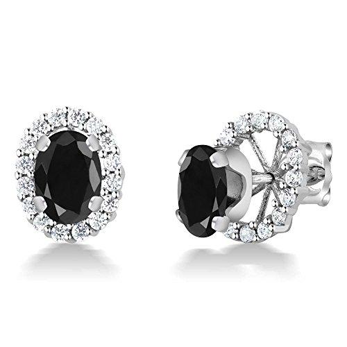 2.14 Ct Oval 7x5mm Black Sapphire 925 Sterling Silver Stud Earrings ()