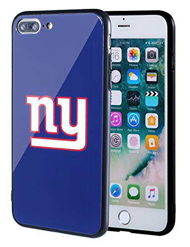 Sportula NFL Phone Case - 9H Tempered Glass Back Cover and Silicone Rubber Bumper Frame Compatible Apple iPhone 8 Plus / 7 Plus (New York Giants)