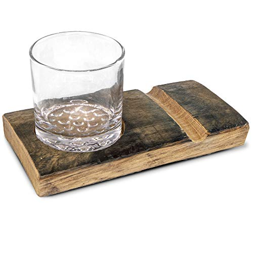 Handcrafted Rustic Wooden Whiskey Glass and Cigar Holder Tray Gift Set with Carved Wood Board and Highball Glass