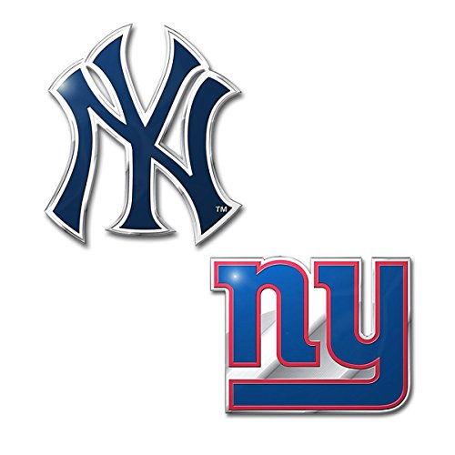 Official Licensed Sports Teams Chrome Outlined Colored Auto Emblem (New York Giants - ()