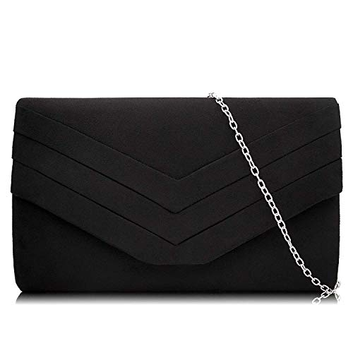 - Milisente Clutch Purses for Women Velvet Envelope Evening Bags Classic Shoulder Clutch Purse (Black)