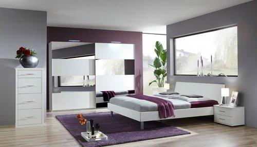 Komfortschlafzimmer in Alpinweiß mit Spiegel, 4-tlg. Kleiderschrank B: ca. 313 cm, Bett Liegefläche 180 x 200 cm, 2 Nachtschänke B:ca. je 52 cm