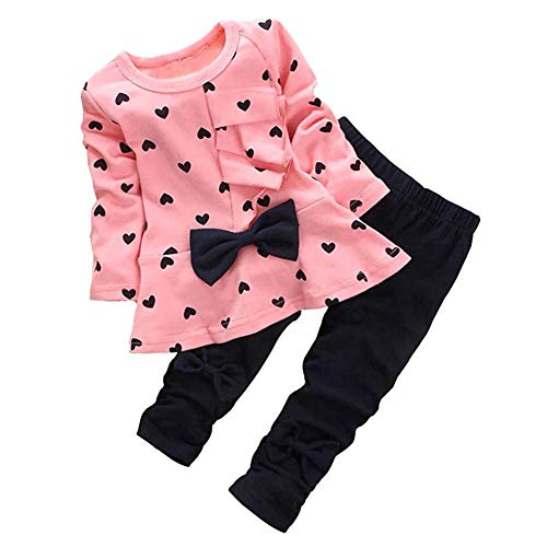 - 0-3 Years Kids Baby Girls Clothes Cute Heart-Shaped Print Bow Tops T Shirt + Pants Leggings 2Pcs Outfits Sets (Pink, 18-24 Months)