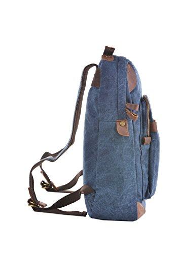 GOOTIUM 40589 Canvas und Leder Freizeit-Rucksack II, 40 cm, khaki Marineblau