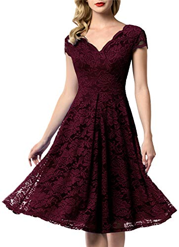 AONOUR 0052 Women's Vintage Floral Lace Bridesmaid Dress Wedding Party Midi Dress Cap Burgundy 3XL