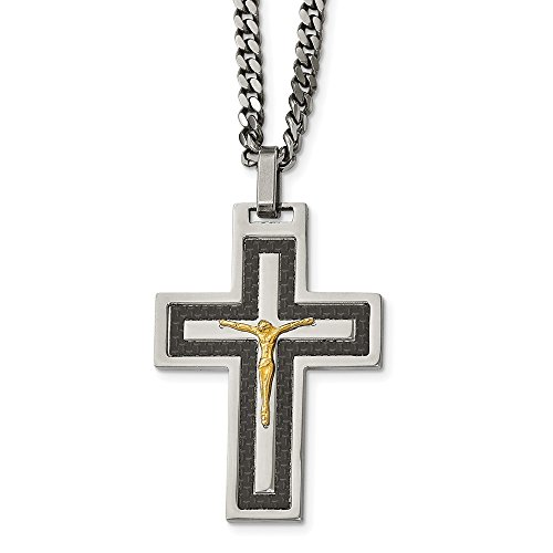 Stainless Steel Polished Blk Carbon Fiber Yellow IP CZ Reverse Crucifix Nec 24 in Carbon Fiber Black Necklace with Pendants Necklaces Jewelry ()