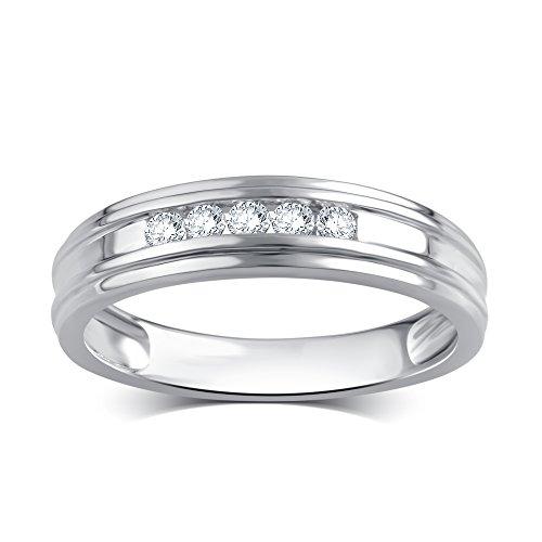 1/4 Cttw Diamond Men's Wedding Ring in 10K White Gold -  Kiran Jewels Inc, KR18598FW12