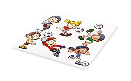 Lunarable Boy's Room Cutting Board, Cartoon Style Children Happy Funny Kids Playing Soccer Boys Girls with the Ball, Decorative Tempered Glass Cutting and Serving Board, Small Size, Multicolor by Lunarable