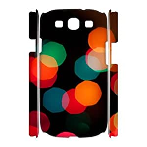 3D Samsung Galaxy S3 Case,Christmas Holiday Lights Bokeh Hard Shell Back Case for White Samsung Galaxy S3