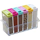 Shopais Crystal Seasoning Spice Rack 6 Lid Container Set (Multi-Color)
