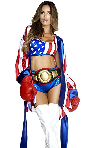 Sports Girl Halloween Costumes (Forplay Women's Get 'Em Champ Sexy Boxer Costume, red,)