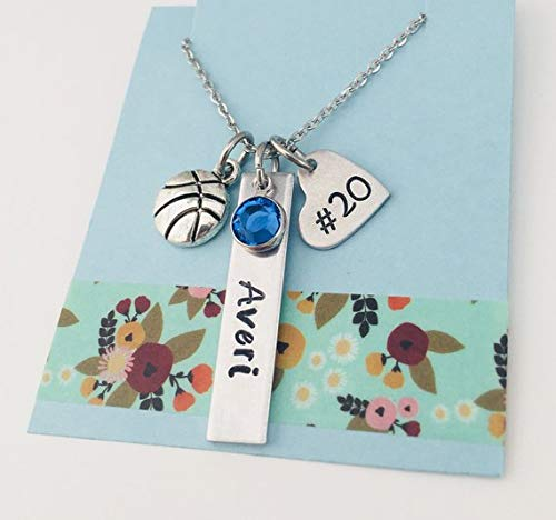 Girls Basketball Necklace, Personalized Sports, Players Number, Custom Name