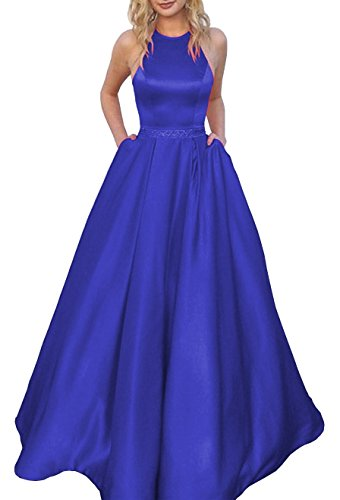Women's Halter A-line Floor Length Beaded Evening Prom Dress Satin Ball Gown with Pockets Size 12 Royal ()