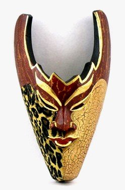 African Animal Mask Hand Carved Wood 25cm Tall Wall Hanging