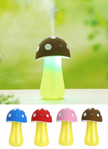 Superdental Portable Mini 200ml Cool Mist Mushroom Lamp Humidifier Purifier with LED Lighting for Home Room Office Car Travel by Super Dental