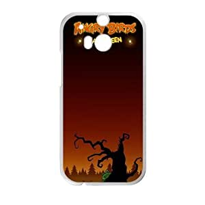 Angry Birds_002 TPU Case Cover for HTC One M8 Cell Phone Case White