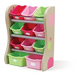 Step2 Fun Time Room Organizer Toy Storage for Kids - Durable Bins Shelves for Toys, Books and Crafts, Pink