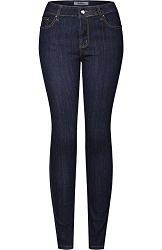 2LUV Women's Stretchy 5 Pocket Dark Denim Skinny Jeans Dark Indigo 17(V1220)
