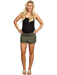 Olive Linen Foldover Waistband Shorts