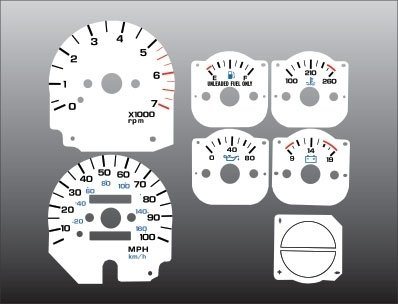 Jeep Wrangler Dash Overlay - 1992-1995 Jeep Wrangler White Face Gauges