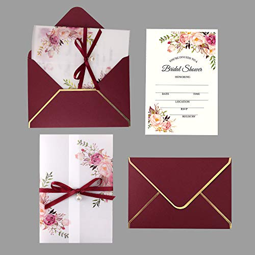 - Doris Home 250 GSM 5 x7.3 inch Invitations Cards with Envelopes and Printed Inner Sheets for Bridal Shower CW0016 (Burgundy, 25pcs)