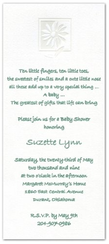 Daisy Invitations Shower Baby (Textured Romance Framed Daisy Baby Shower Invitations - Set of 20)