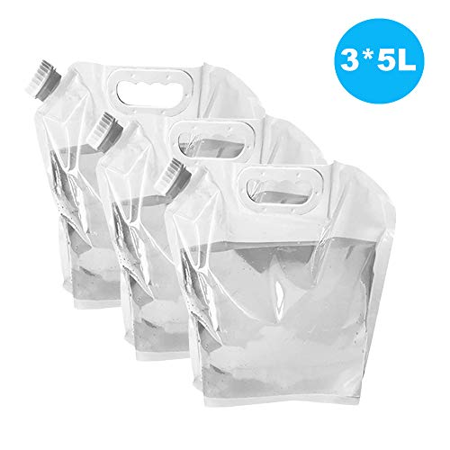 Ellsang 3x5L Collapsible Water Tank Container Bag, BPA Free Outdoor Folding Water Storage Carrier for Backpacking Camping Hiking Picnic BBQ Hurricane Flood Earthquake Emergencies(Transparent)