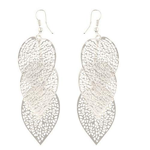 Afco Colorful Leaf Pendant Drop Hook Earrings Metal Hollow Statement Dangle Fashion Jewelry (Silver)