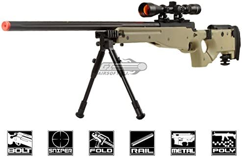 Well Full Metal MB08 Bolt Action Sniper Rifle Tan Scope Package