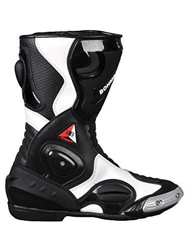 Bohmberg® Motorradstiefel, Sportstiefel aus Leder, Wasserabweisend aus stabilem Leder mit aufgesetzten…