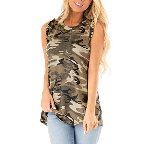 〓COOlCCI〓Women's High Neck Tank Tops,Summer Camouflage Sleeveless T Shirts Loose Fit Flowy Tank Tops Blouses Vest ()