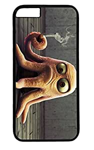 DaojieTM Generic Funny Octopus Smoking Pc Black Case for Masterpiece Limited Design Iphone 6 Plus 5.5 Inch