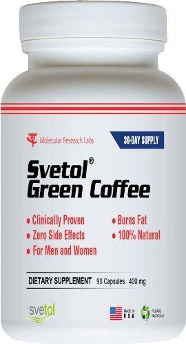Svetol extrait de café vert - 90 Vegetarian Capsules - le seul produit avec 400 mg de 100% Svetol cliniquement prouvée pur dans chaque capsule - sous forme spéciale d'une évaluation scientifique des résultats rapides - Take 2 pour 800 mg de perte de poids