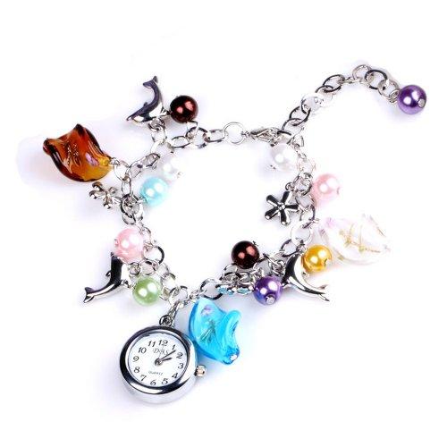 YESSURPRISE Wrist Watch for Women Analog Quartz Bangle Bracelet Fashion Cute Dolphin Beads (Bracelet Bangle Watch Quartz)