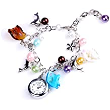 YESSURPRISE Wrist Watch for Women Analog Quartz Bangle Bracelet Fashion Cute Dolphin Beads