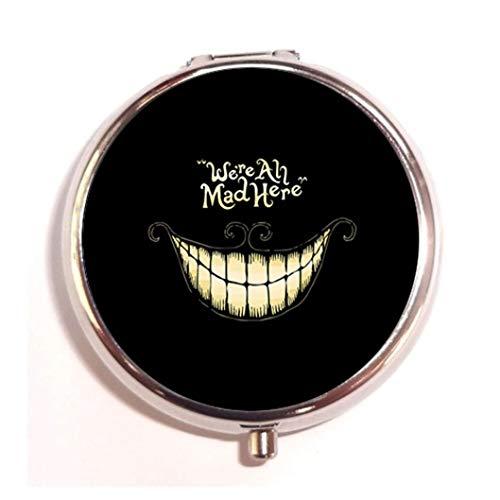 - Smiling face Personalized design New Silver Round Pill Box Decorative Metal Medicine Vitamin Organizer Unique Gift